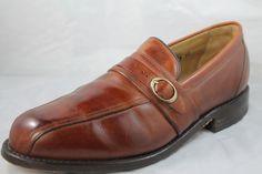 FootJoy Mens Brown Leather Buckle Slip on Loafer Shoes 8.5 D #FootJoy #LoafersSlipOns