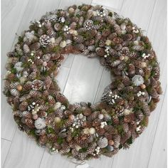 The Holiday Aisle Pinecone Wreath Christmas Tinsel, Artificial Christmas Wreaths, Xmas, Tulip Wreath, Berry Wreath, Pine Cone Art, Pine Cones, Pre Lit Wreath, Driftwood Wreath