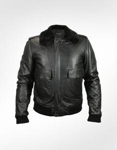 Forzieri Men's Black Leather Jacket w/Detachable Shearling Collar. Very Stylish .