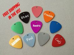 Laser Engraved Guitar Pick Pet Tag  by BlackDogEngraving on Etsy