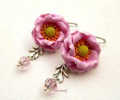#Flower earrings  #Pink earrings  Windflower  by insoujewelry
