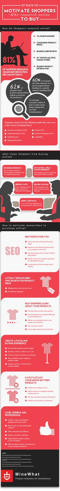 Infographic: 27 Ways To Motivate Shoppers Who Research Online To Buy: 81% of shoppers research online before making a purchase. Find out what stops them from buying online and what you can do to motivate them to buy. #digitalmarketing #marketing #seo #internetmarketing #digitalmarketingtrends