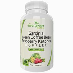 Evergreen Genie Garcinia Cambogia Green Coffee Bean Extract Raspberry Ketones with Green Tea - Pure Natural Blend Weight Loss Supplement to Burn Fat Suppress Appetite and Boost Energy