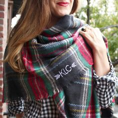 Blanket Scarf / Monogrammed Scarf / Personalized Scarf / Plaid Scarf / Gifts for Her / Christmas Gi Diy Blanket Scarf, Diy Scarf, Scarf Ideas, Monogrammed Scarf, Tartan Plaid Scarf, Bridesmaid Shirts, Fall Scarves, Womens Scarves, Black