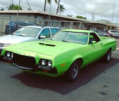 Nice Ford Ranchero!  #protecautocare #engineflush #carrepair #ford #ranchero #hood #scoop #green #v8 #american #classic #custom #customized #muscle #car #followus