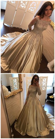 CHIC PROM DRESS,HANDMADEPROMDRESS,LONG SLEEVE PROM DRESS,OFF SHOULDER GOLD PROM DRESS LONG SLEEVE A LINE SPARKLY PROM DRESS EVENING DRESS AMY011 #amyprom #fashion #love #formaldress #beautifuldress #longpromdress #modest