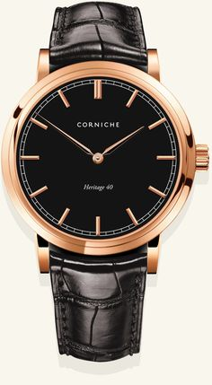 Corniche Heritage 40 Watch. Rose Gold with Black Dial and Strap