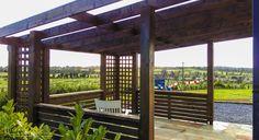 Dark Oak Garden Pavilion and Sandstone. Garden Design, by Tom Leavy_ Leavy Landscaping. Landscape Design, Garden Design, Garden Pavilion, Ireland Landscape, Outdoor Rooms, Garden Landscaping, Pergola, Construction, Outdoor Structures