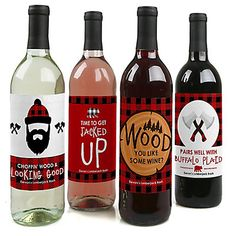 Lumberjack - Channel The Flannel - Personalized Buffalo Plaid Wine Bottle Label Stickers - Set of 4 | BigDotOfHappiness.com