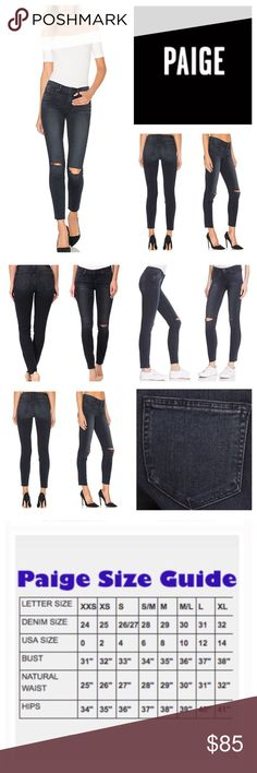 """Anthropologie Paige Verdugo Ankle Jeans.  NWOT. Anthropologie Paige Verdugo Ankle Kaleea Destructed, 54% rayon, 23% cotton, 22% polyester, 1% spandex, machine washable, 29"""" waist, 8.5"""" front rise, 15"""" back rise, 28.5"""" inseam, 10.5"""" leg opening all around, slit knees, 5-pocket, fading, whiskering, raw raveled hem, zip fly front closure, Paige signature leather patch on back, Paige Transcend fabric features a formula that yields luxuriously denim that won't stretch out and will turn heads with…"""