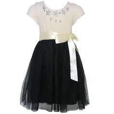 Cute dress from RMLA with bejeweled accents just for your little girl. The short sleeved ivory bodice features sparkle textured design, with shiny stones adorning the neckline, sash and bow at waistline. Black tulle overlaid skirt.