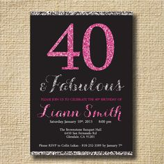 40th Birthday Glitter Invitation Women Forty And Fabulous Diamond Pink Glamour In