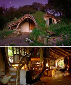"Among the most famous examples of a 'hobbit house' is ""A Low Impact Woodland Home"", self-built in Wales for about 1000-1500 man-hours (over four months) and £3000. Creator Simon Dale used stone and wood from the property, straw bales covered in plaster for the walls, and lots of reclaimed and salvaged materials like hardwood flooring, doors and windows. The reciprocal roof, covered in plastic sheeting and mud/turf, is surprisingly easy to build and looks incredible."