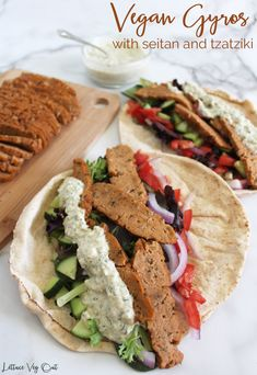 This vegan gyro recipe is made with a delicious and easy seitan that doesn't require fancy ingredients or multiple steps! Serve in a pita alongside veggies and a delicious homemade vegan tzatziki sauce for the ultimate vegan dinner. #Vegan #VeganRecipe #Seitan #SeitanRecipe #Gyro #Gyros #Tzatziki #VeganDinner #VeganMeal #VeganMealPrep #VeganProtein #HealthyVegan #HealthyDinner #HighProtein #Vegetarian #VegetarianRecipe #PlantBased #PlantBasedRecipe #VeganMeat #Meatless #MeatFree