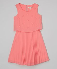 Look at this Speechless Peach Beaded Pleated Dress - Girls on #zulily today!