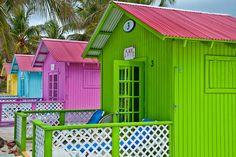 Colorful Princess Cays beach cabanas, Bahamas ~ photographer candisfl  #sea #ocean