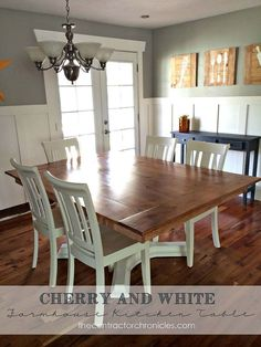Beautiful farmhouse table with cherry and white accent!