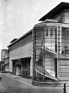 Walter Gropius & Adolf Meyer - Werkbund Exhibition (1914) - spiral staircases entirely encased in glass, movement seized and immobilized in space.