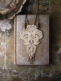 lace necklace  LOTUS  long necklace fringe necklace door whiteowl