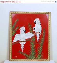 SALE 1950s Red Tropical Cockatoo Painting by CheekyVintageCloset, $65.60