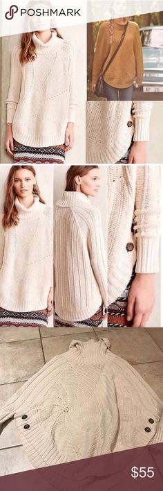 Anthropologie Harvest Moon Poncho, sz S By Angel of the North. Cream colorway for sale. In EUC Anthropologie Sweaters