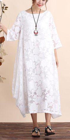 Classy O Neck Asymmetric Summer Dresses Shirts White Cut Flowers Vestidos De Lino Dresses Summer Maxi, Casual Summer Dresses, Summer Dresses For Women, Winter Dresses, White Linen Dresses, Cotton Dresses, White Dress, Flower Dresses, Chiffon Dress