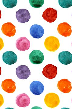 Colorful polka dot watercolor pattern by katerina_izotova - Rainbow colorful watercolor dots on a white background on fabric, wallpaper, and gift wrap.  Beautiful confetti style colorful dots.