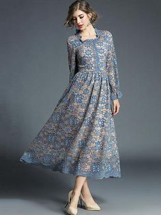 Buy this latest and trendy styles of Women Lace Dress Frill Pleated Long Sleeve Light Blue Women Spring Dress. Look Gorgeous in this Dress! Lookbook Mode, Fashion Lookbook, Blue Midi Dress, Lace Dress, Womens Swing Dress, Robe Swing, Robes Midi, Up Girl, Vintage Outfits