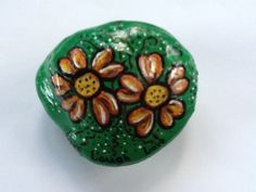 Hand painted rock - Fall Flowers by Phyllis Plassmeyer