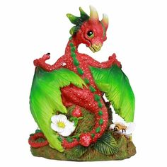 Pacific Giftware Strawberry Garden Dragon by Stanley Morrison Home Decor Statue - All About Gardens Dragon Egg, Baby Dragon, Red Dragon, Dragon Pics, Dragon Artwork, Strawberry Garden, Strawberry Patch, Strawberry Leaves, Apple Garden