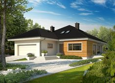 Projekt domu Liv 3 G2 130,39 m² - koszt budowy - EXTRADOM Prefabricated Houses, Prefab Homes, Style At Home, Trombone, Villas, My House Plans, Affordable Housing, Detached House, Home Fashion