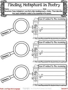 Freebie! This resource includes a lesson for both reading and writing workshops on teaching metaphors using poetry.  It also includes a printable graphic organizer and thinkmark.