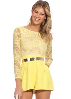 #SALE Yellow Long Sleeve Contrast Lace Top Jumpsuit Shop the #SALE 41% OFF at #Sheinside