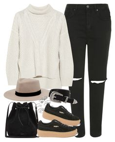 """""""Outfit for autumn with ripped jeans and creeper sneakers"""" by ferned on Polyvore featuring Topshop, Duffy, MANGO, Candie's, Puma, ASOS and Mansur Gavriel"""