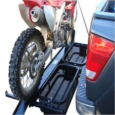 Dirt Bike Scooter Motorcycle Tow Hitch Carrier Rack with Cargo Baskets Motorcycle Towing, Motorcycle Carrier, Motorcycle Dirt Bike, Motorcycle Trailer, Dirt Biking, Motorcycle Quotes, Moto Bike, Todo Camping, Truck Camping