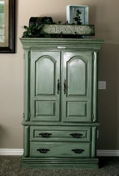 Reminds me of the old armoire in the guest room, want to do this.  Little Bit of Paint: furniture