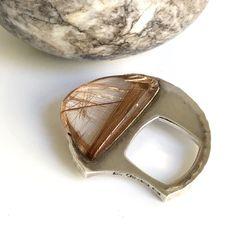 Exceptional rare rutilated quartz hand made ring designd by Rey Urban Sweden c.1970