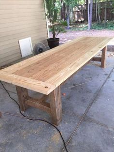 10 Foot Farm Table with Reclaimed Barn Wood - Farmhouse table Diy Farmhouse Table, Rustic Table, Wooden Tables, Diy Table, Farm Tables, Farm Table Plans, Barn Wood Tables, Rustic Patio, Pallet Dining Table