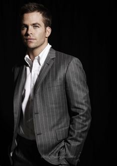 Chris Pine.....  + Pin stripe suit = hot