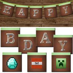 Minecraft Party Free Printables | MINECRAFT Happy Birthday Banner - Minecraft DIY Printable Party. $8.00 ...