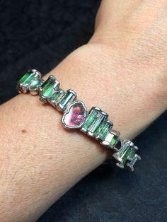 Stunning, Fine Silver Handcrafted Tourmaline Bracelet- Estate Find- 32.5 Grams.
