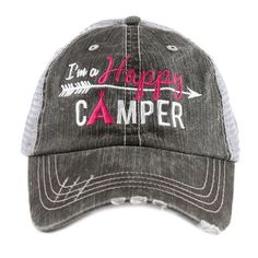 Hats or tanks { I'M A HAPPY CAMPER } { Camping hair don't care } { Camping life } { Glamping hair don't care } Embroidered distressed gray unisex trucker caps. Adjustable Velcro and hole for pony. RV there yet? Camping Hair, Camping Glamping, Camping Ideas, Camping Stuff, Couples Camping, Camping 101, Camping Gadgets, Camping Recipes, Camping Checklist