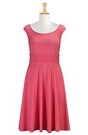 Trellis waist cotton knit dress from eShakti