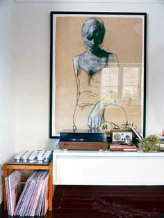 Plug any record player into the Model One auxiliary input. We love this listening nook designed by prop stylist LynseyFryers  who was featured on this post from desire to inspire - desiretoinspire.net