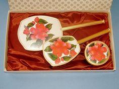 1970s Unused 3 Piece Ladies Red Floral Flower by QueensParkVintage, $55.00