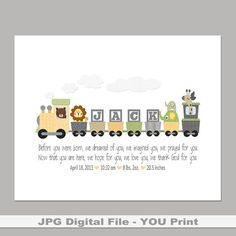 Boys personalized train with bible verse baptism gift personalized yellow gray train printable 8x10 for boy or girls name great baptism baby christening giftsbaby negle Gallery