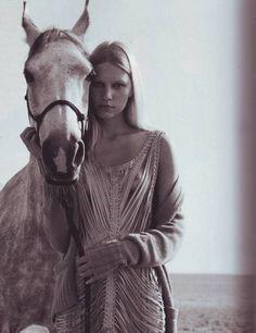 A horse.  A girl.