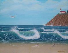 Original beach painting 16 x 20 oil by StephanieHessFineArt, $100.00