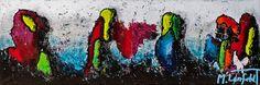 Birds I, 40x120 cm - Art by Lønfeldt - original abstract painting, modern textured art, colorful