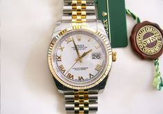 #Rolex #Datejust_II 116233  #swisswatchdealers  – Yellow Gold / Stainless Steel and white roman dial. So graceful and stylish!